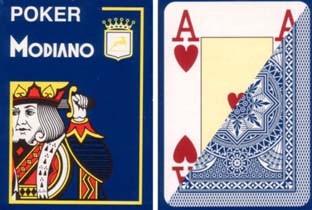 Poker: Modiano Plastico Jumbo Index 4 Eckzeichen Blau