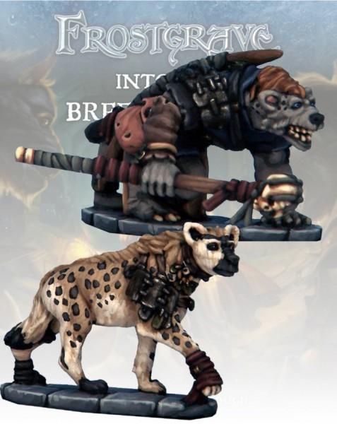 Frostgrave: Gnoll Tracker & War Hyena (2)