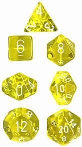 Würfelset: 7 Würfel mehrseitig Translucent Yellow w/white