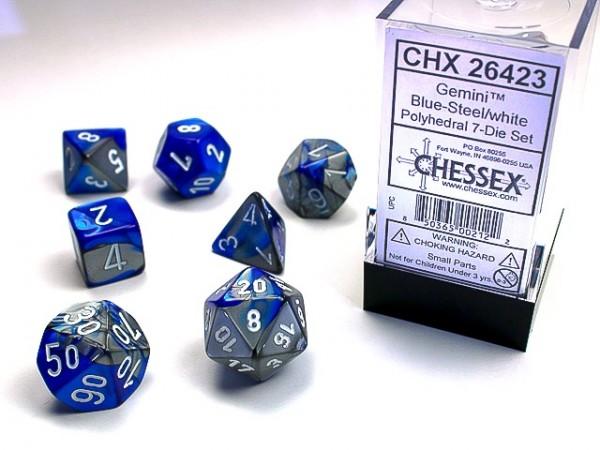 Würfelset: 7 Würfel mehrseitig Gemini Blue-Steel/white