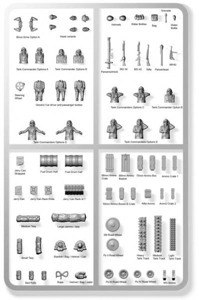 Plastic Soldier: 1/72 German Stowage & Commanders (Plastik)