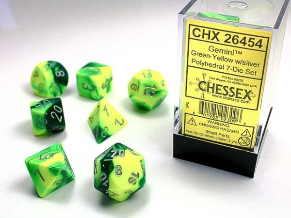 Würfelset: 7 Würfel mehrseitig Gemini Green-Yellow w/silver
