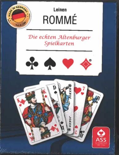 Rommé Leinen franz. Bild in Stülpchachtel