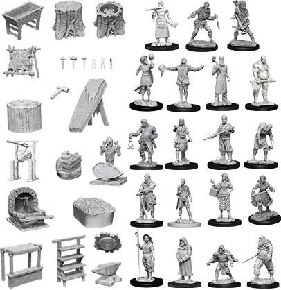 Pathfinder Deep Cuts Unpainted Miniatures Townspeople & Accessories