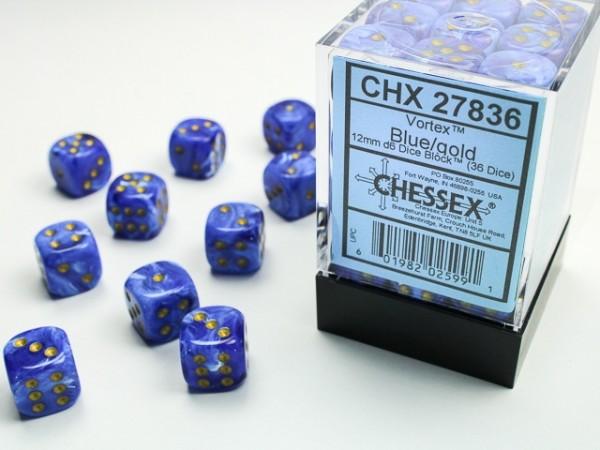 Würfelset: 36 Würfel 6-seitig Vortex Dice Blue/gold