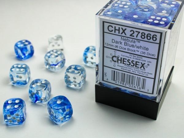 Würfelset: 36 Würfel 6-seitig Nebula Dark Blue/wh.