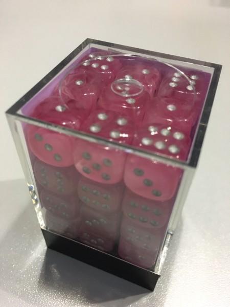Würfelset: 36 Würfel 6-seitig Ghostly Glow Pink/silver
