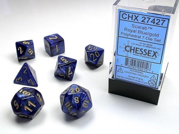 Würfelset: 7 Würfel mehrseitig Scarab Royal Blue/gold