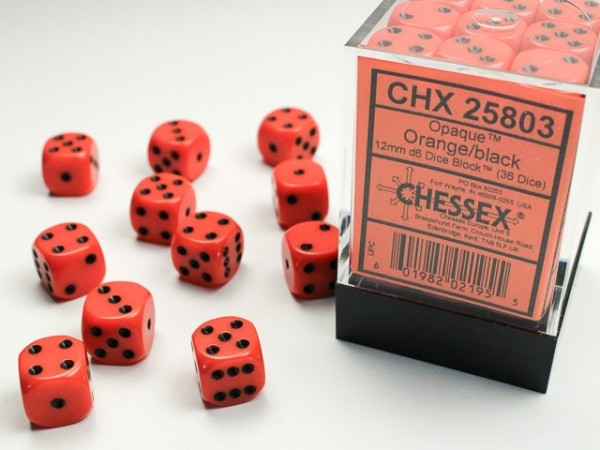 Würfelset: 36 Würfel 6-seitig 12mm Opaque Orange/black