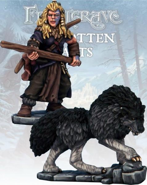 Frostgrave: Barbarian Tracker & Warhound (2)