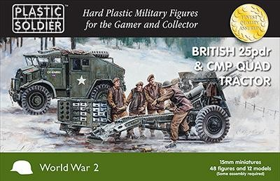 Plastic Soldier 15mm British 25pdr & CMP Quad Tractor x4