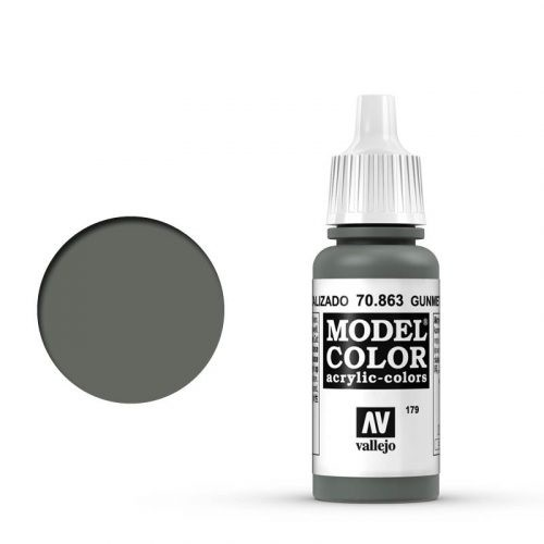 Vallejo Model Color: 179 Metallgrau (Gunmetal Grey), 17 ml (863)