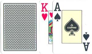Poker: Copag Texas Hold´em Jumbo Index schwarz/gold 2 Eckzeichen